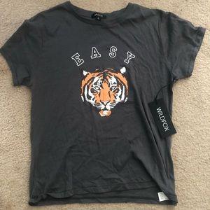 Wildfox Tshirt Easy Tiger gray size small